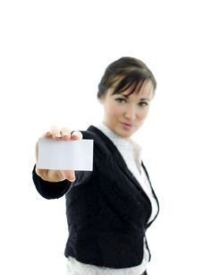 Free Executive Woman With Business Card Or White Sign Royalty Free Stock Photography - 22698247