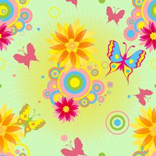 Free Seamless  Pattern With  Flowers And Butterflies . Stock Photography - 22698712