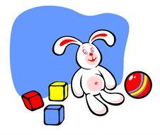 Rabbit And Toys Stock Photos