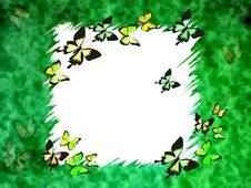 Free Green Border With Butterflies Royalty Free Stock Images - 2275569