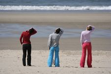 Three Girls In The Beach Royalty Free Stock Photography