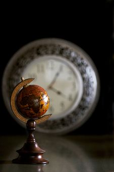 Globe With Clock Stock Photography