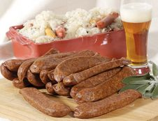 Free Pork Sausage And Sauerkraut Royalty Free Stock Photography - 2279787