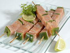 Skewered Fish Cubes Royalty Free Stock Image