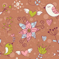 Free Love Seamless Texture With Flowers And Birds Royalty Free Stock Image - 22703266