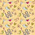 Free Love Seamless Texture With Flowers And Birds Stock Photos - 22703283