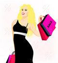 Free Lovely Blonde Lady With Shopping Bags Stock Photo - 22708930