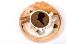 Free Delicious Breakfast With Fresh Coffee And Croissan Stock Image - 22707061