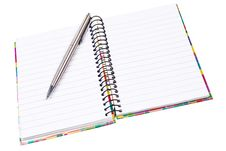 Free Open Ring Notepad With Silver Ballpen. Stock Photos - 22708683