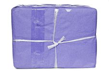 A Parcel Wrapped In Purple Paper Stock Photos