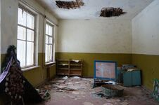 Abandoned Kindergarten In The Village Of Kopachi, Kiev Region, Ukraine. Stock Photos