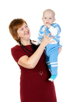 Grandmother With Grandson In Her Arms Royalty Free Stock Image
