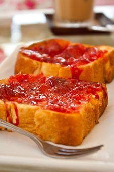 Free Slice Of Bread With Red Jam Stock Photo - 22719500