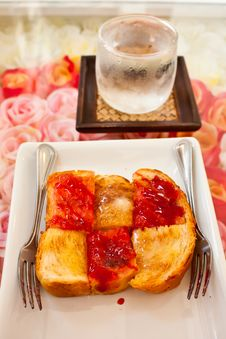 Free Slice Of Bread With Red Jam Stock Image - 22719651