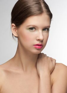 Woman With Bright Fashion Make-up Stock Photo