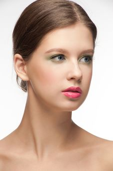 Woman With Bright Fashion Make-up Stock Images