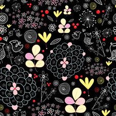 Free Bright Floral Pattern With Birds Royalty Free Stock Image - 22720486