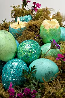 Free Blue And Green Eggshell Candles Royalty Free Stock Photography - 22721107