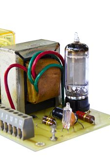 Free Old Electronic Board Using Triratron (vacuum Tube) Royalty Free Stock Photography - 22722227