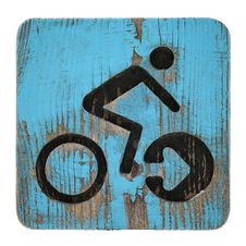 Free Old Bycicle Symbol On Blue Wooden Background Royalty Free Stock Photo - 22723345