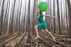 Free Beautiful Blonde Girl With Balloon In The Woods Stock Image - 22723551