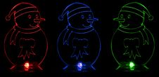 Luminous Snowmen Stock Photos
