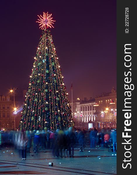 Christmas tree with many people Vilnius Lithuania