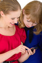 Free Two Pretty Girls With A Mobile Phone Stock Image - 22736651