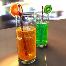 Free Two Fruit Cocktail Glasses On A Table. Stock Image - 22730461