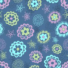 Free Floral Seamless Pattern In Blue Tones Stock Images - 22730984