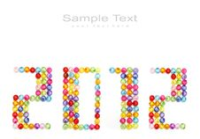 Free 2012 Made Of Colorful Beads Stock Photo - 22732710