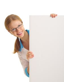 Beautiful Nurse Holding A Blank Banner Stock Photography