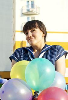 Free Beautiful Girl Holding Balloons Stock Image - 22745251