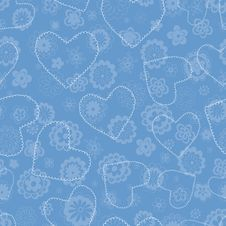 Free Floral Seamless Pattern With Hearts Royalty Free Stock Photos - 22746098