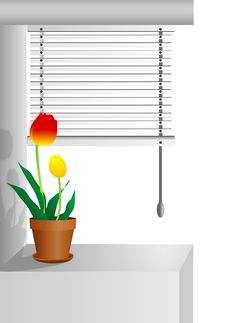 Free Window With Tulips, Cdr Vector Stock Photography - 22746132