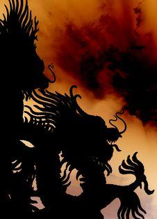 Free Dragon Statue Silhouette. Royalty Free Stock Photo - 22746595