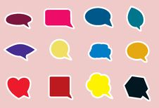 Free Speech Bubble Icons In Various Bright Colors Royalty Free Stock Images - 22748709