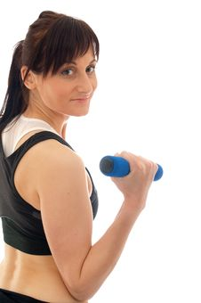 Woman Is Training With Weights Stock Photo