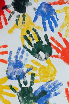 Free Colorful Hand Imprints Royalty Free Stock Images - 22759369