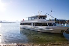 Passenger Boat On Lucerne Lake, Switzerland Stock Photo