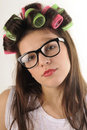 Free Portrait Of Woman With Curlers Royalty Free Stock Photo - 22760605