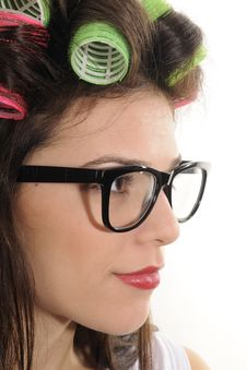 Free Profile Of Woman With Curlers Stock Image - 22760601
