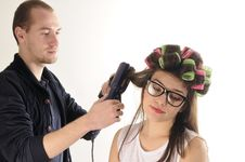 Free Stylist Man Working With Model Hair Stock Photos - 22760703