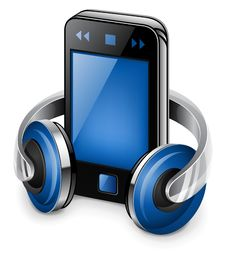 Personal Media Player And Headphones Stock Photography