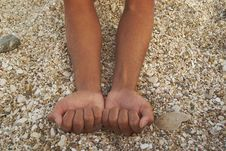 Tanned Hands Into Cams On Background Stones Beach Royalty Free Stock Image