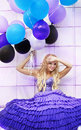 Free Beautiful Girl In The Purple Dress With Balloons Stock Image - 22776901