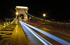Free Traces Of Car Headlights Across The Bridge Royalty Free Stock Images - 22772239