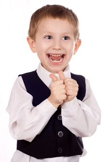Happy Boy Shows The Sign Stock Image