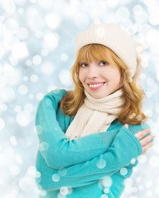 Free Christmas  Beautiful Young Happy Woman Stock Photo - 22779410
