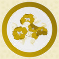 Free Plate With Design Of Yellow Flowers Royalty Free Stock Image - 22781226